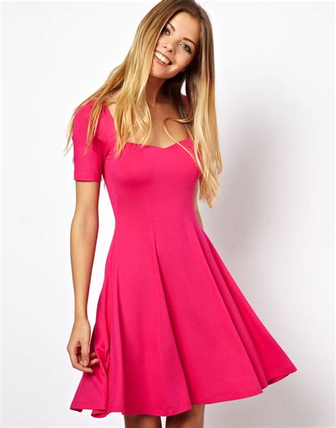 Dress Fashion Skater asos skater dress with sweetheart neck and sleeves in pink lyst