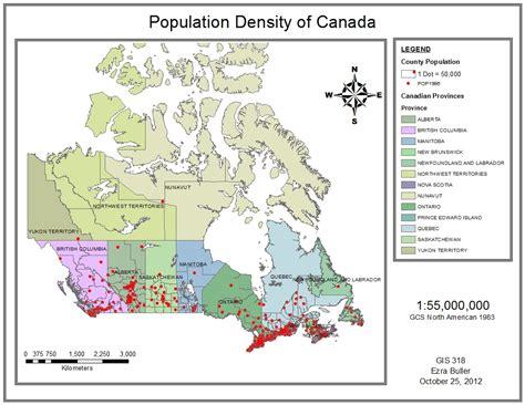 canada population map canada s population density ezra buller