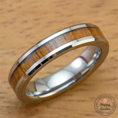 tungsten carbide ring  koa wood inlay mm width flat