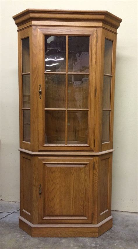 curio corner cabinet ethan allen vintage lighted glass