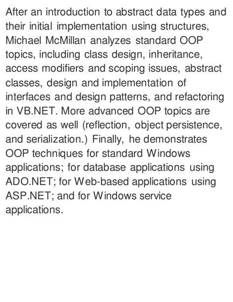 programming vb net pdf object oriented programming with visual basic net pdf