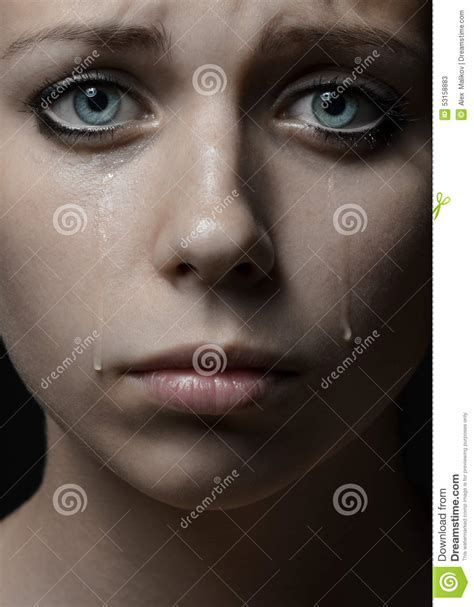 girl eyes themes beautiful young girl with tears in her eyes stock image