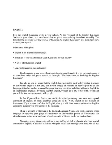 Pt3 Exle Essay by Pt3 Speech Essay Sle