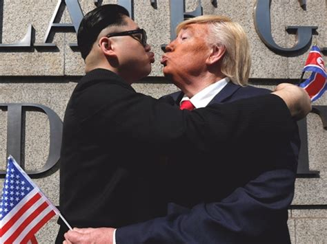 sworn enemies: presidents trump and kim photographed