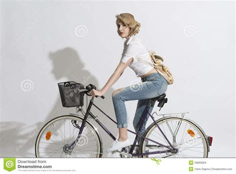on a bike pretty on a bicycle stock images image 33665064