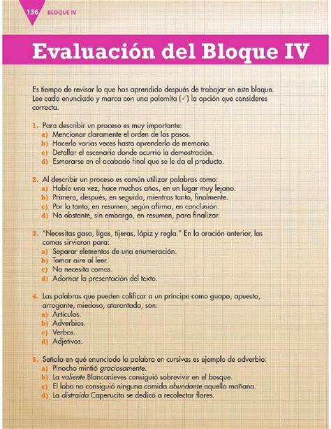 preguntas de historia para quinto de secundaria evaluaci 243 n del bloque iv espa 241 ol 3ro apoyo primaria