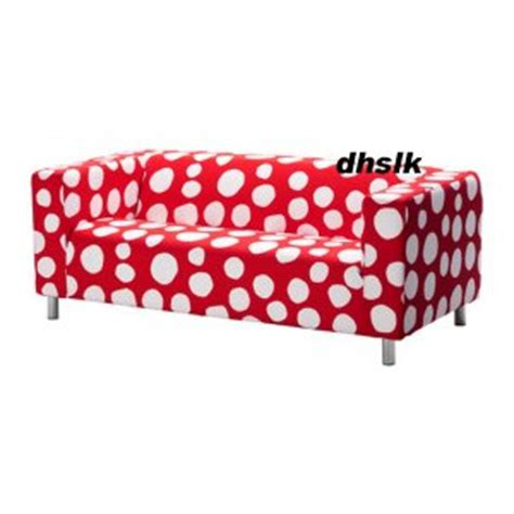polka dot futon cover ikea klippan loveseat sofa slipcover cover dottevik red