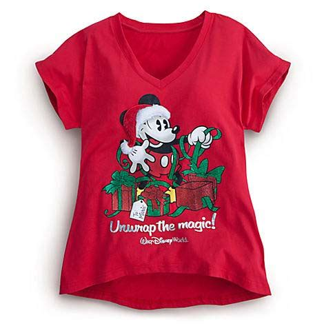 disney women's shirt christmas mickey mouse unwrap the