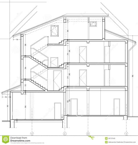 drawing a section building section drawing royalty free stock photo image