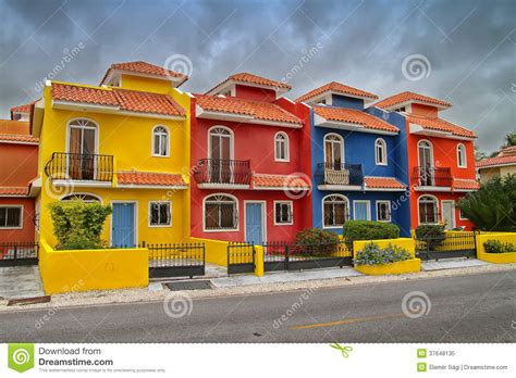 colorful beach houses colorful houses in the dominican republic royalty free
