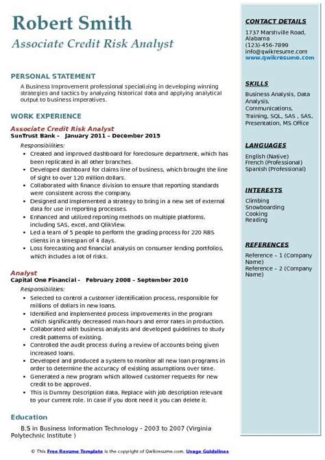 Credit Risk Analyst Cover Letter by Risk Analyst Resume Resume Ideas