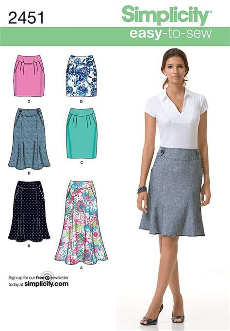 easy skirt pattern simplicity 2451 sewing pattern ladies skirt 2 styles 2