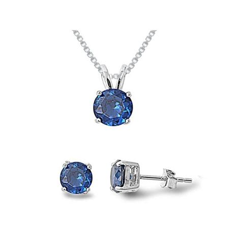 sterling silver simulated blue sapphire necklace