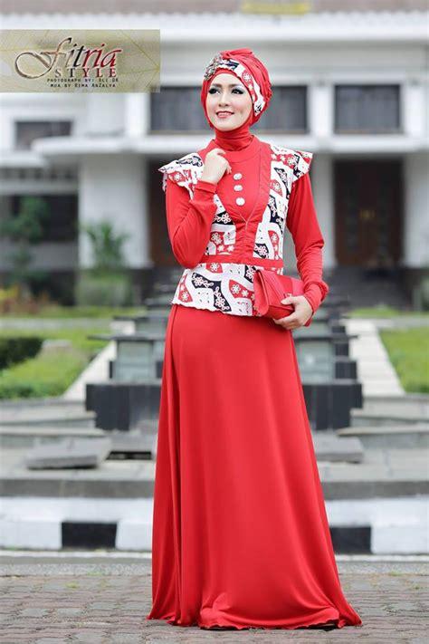 Dress Jersey Berlengan azarine by fitria style merah baju muslim gamis modern