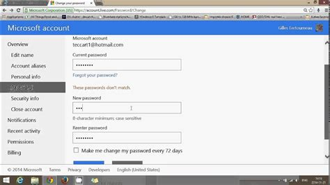 fixit   change msn hotmail  outlook account password youtube