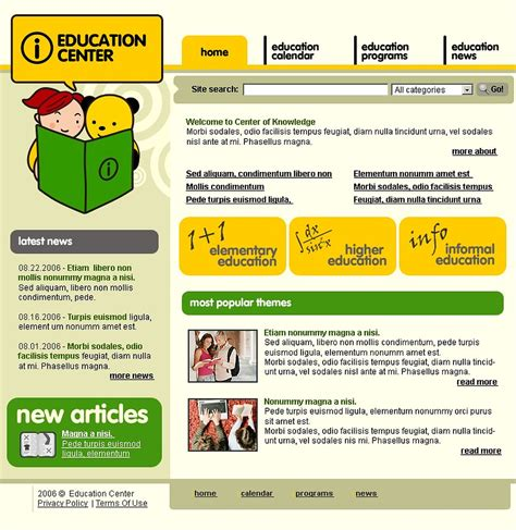 web templates for articles educational articles website template web design