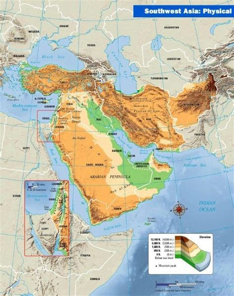 central and east asia physical map mapping