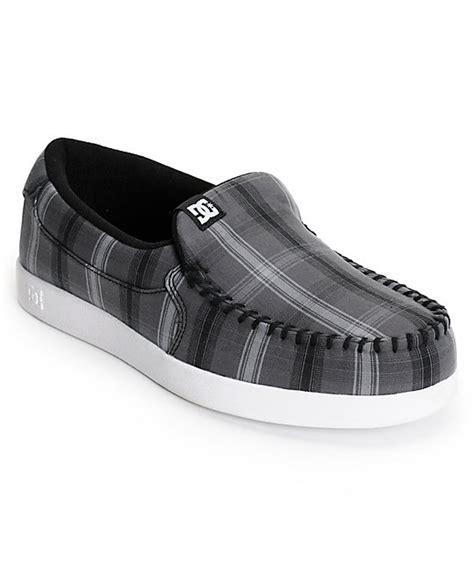 dc house shoes dc villain tx dark grey plaid slippers