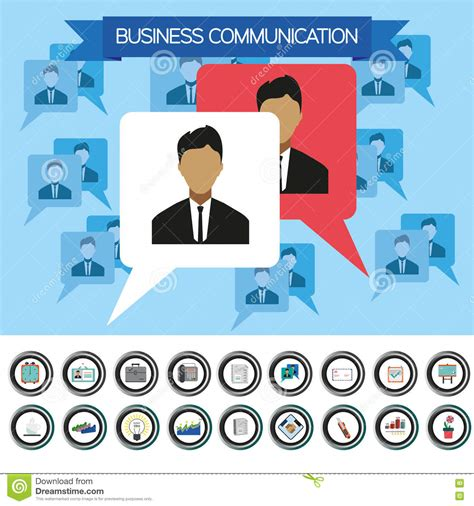 pattern of business communication pdf business communication infographic with icons persons and