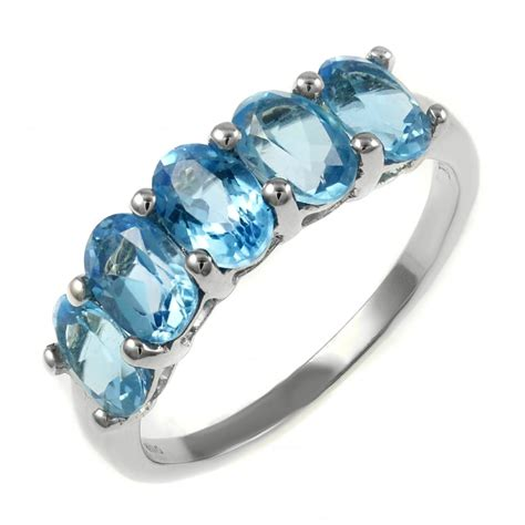 Topaz 5 18ct 18ct white gold 2 80ct oval blue topaz 5 ring