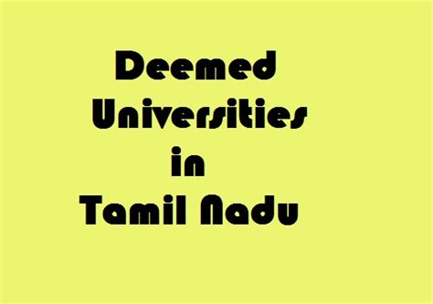 Deemed In Chennai For Mba by Deemed Universities In Tamil Nadu Govt Info