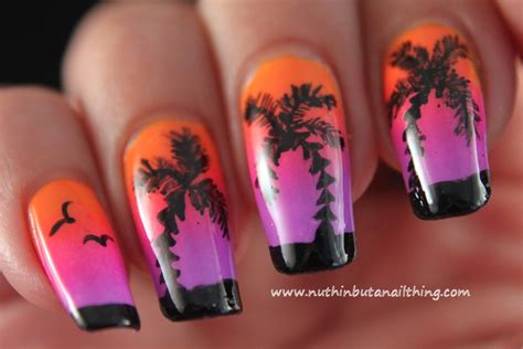 easy nail art palm tree nuthin but a nail thing palm tree nail art