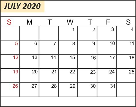 july  printable calendar template   excel word