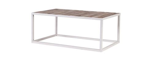 rochelle wood and white metal coffee table 100x60cm