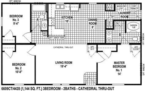 sectional mobile home floor plan the6609 view select