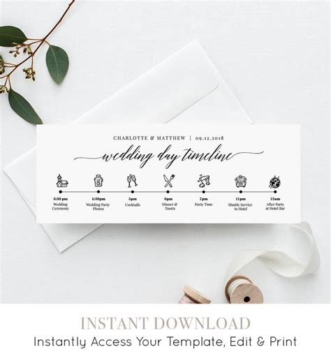 Wedding Details Card Template Timeline by Wedding Day Timeline Card Itinerary Agenda Schedule