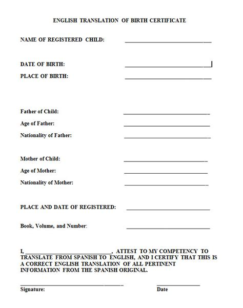 birth certificate translation template to birth certificate translation template uscis templates