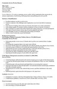 Community Social Worker Sle Resume by Resume For Community Service Worker