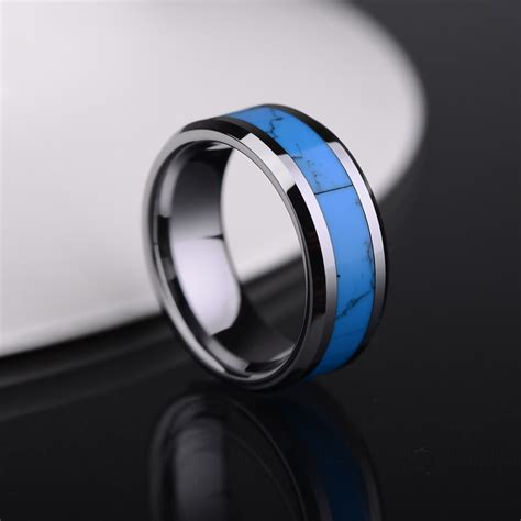 turquoise inlaied tungsten wedding bands set for and