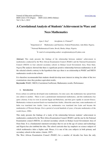 neco template 11 a correlational analysis of students achievement in