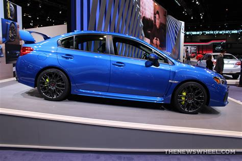 blue subaru 2017 2017 subaru wrx sti blue sedan car on display chicago auto