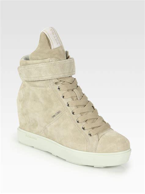 Prada Sneakers Prada Wedges prada suede laceup wedge sneakers in lyst