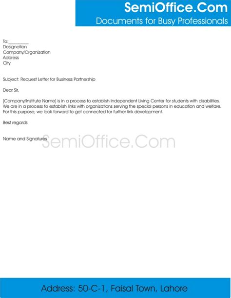 Exle Of Request Letter In Business Partnership Archives Semioffice