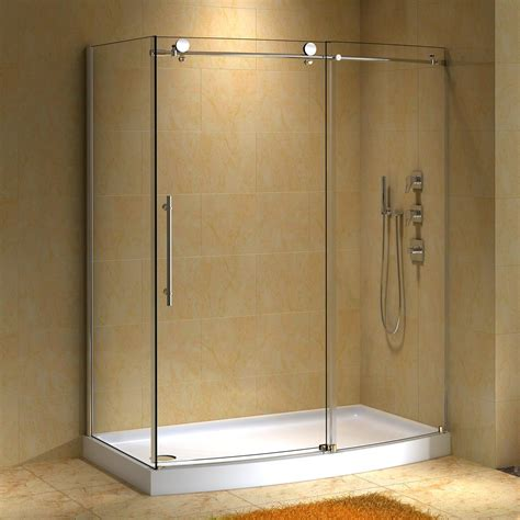 Shower Stall Glass Door Bathroom Corner Glass Shower Enclosure With Black Door Handle And Black Shower Set With Brown