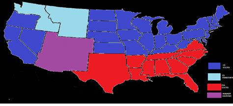 my map of the united states at the end of the civil war if