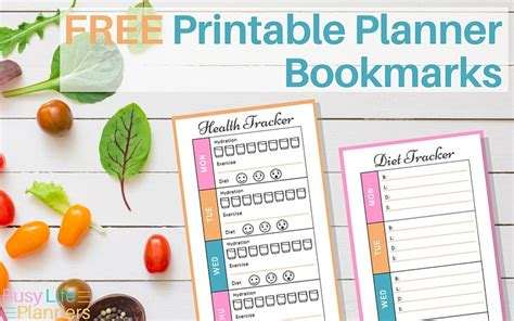 printable bookmark planner free printable health tracker and diet tracker planner