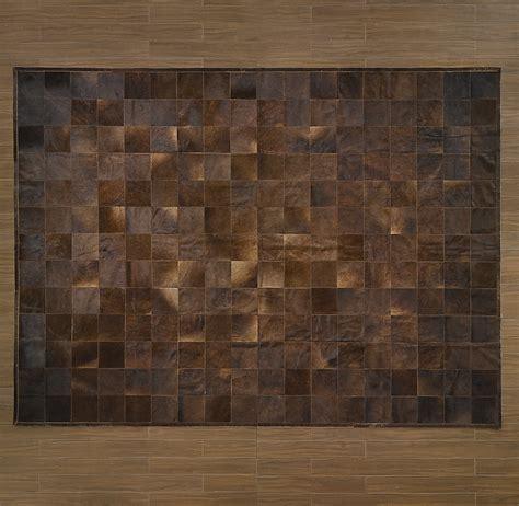 Cowhide Tile Rug South American Cowhide Tile Rug Chocolate