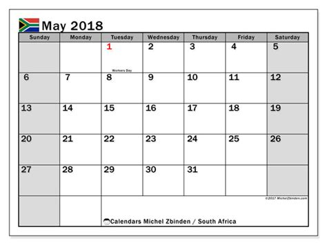 printable calendar 2018 south africa calendar may 2018 south africa