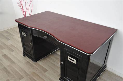 red leather desk art deco desk with bordeaux red leather plate for sale at