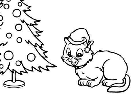 christmas coloring pages kitty lovely kitten coloring pages