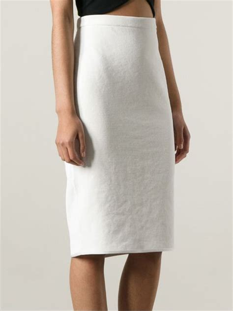 theyskens theory high waisted pencil skirt in white lyst