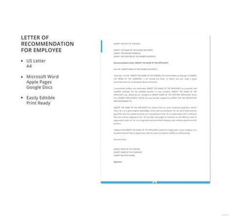 letter recommendation employment word