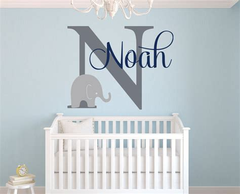 Name Decorations For Nursery Name Wall Decal Elephant Wall Decal Elephants Baby Boy