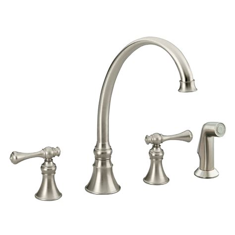 kitchen faucet nickel shop kohler revival vibrant brushed nickel 2 handle high arc kitchen faucet at lowes com