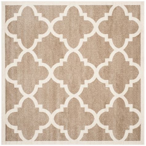 5 ft square rug safavieh amherst wheat beige 5 ft x 5 ft indoor outdoor square area rug amt423s 5sq the home