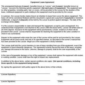 Equipment Lease Agreement Template Free Download Doc 600730 Equipment Lease Form Template Equipment